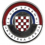 Croatia Home Guard White Metal Cap Badge